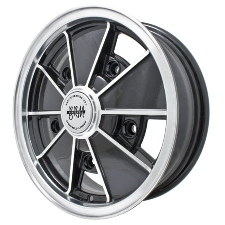 BRM ALLOY WHEELS Gloss BLACK W/Polished Lip 5x205