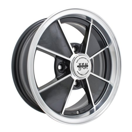 BRM ALLOY WHEELS Gloss BLACK W/Polished Lip, 4/130