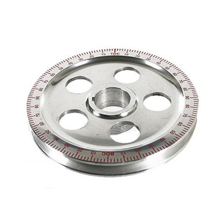 Polished Aluminum Degree Pulley , RED NUMBERS